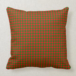 Coussin Contrôle rouge et vert de Noël classique de