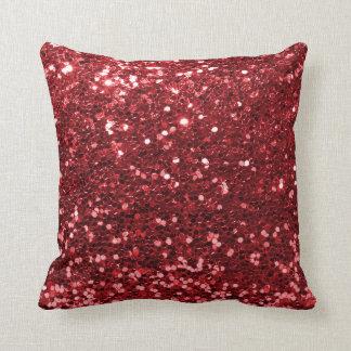 Coussin Copie rouge rouge moderne de scintillement de Faux