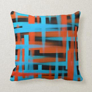 Coussin Courses abstraites de brosse d'huile dans orange