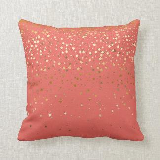 Coussin Coussin-Saumon carré de petites étoiles d'or