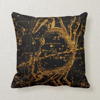 Coussin Crabe astrologique céleste de Cancer d'or de carte
