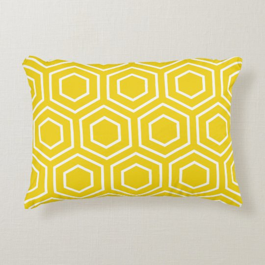 coussin d 39 accent motif jaune citron d 39 hexagone. Black Bedroom Furniture Sets. Home Design Ideas