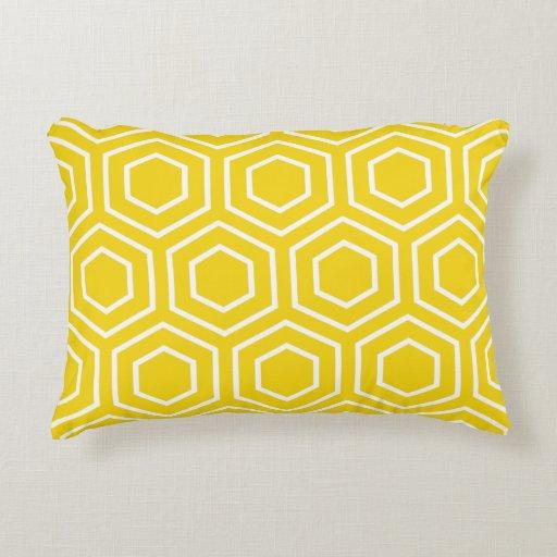 coussin d 39 accent motif jaune citron d 39 hexagone coussin d co zazzle. Black Bedroom Furniture Sets. Home Design Ideas