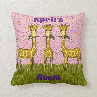 Coussin de carré de girafes