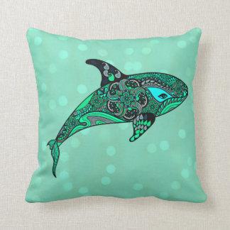 coussin de conception d'art de baleine d'aqua