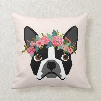Coussin de couronne de fleur de Boston Terrier
