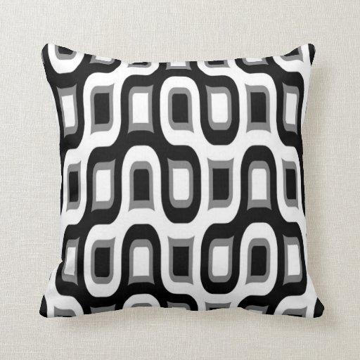 coussin de noir blanc et gris r tro d 39 am ricain d zazzle. Black Bedroom Furniture Sets. Home Design Ideas