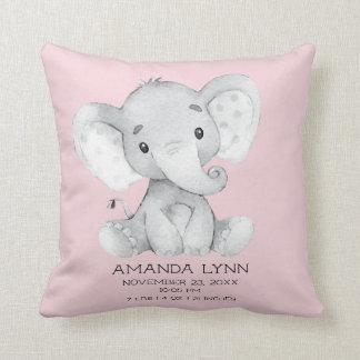 Coussin de stat de naissance de bébé d'éléphant de