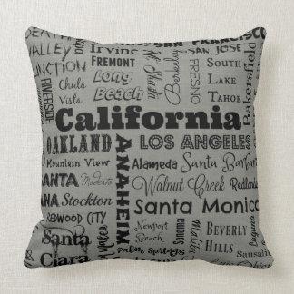 Coussin de typographie de villes de la Californie