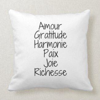 Coussin décoratif Amour Richesse Gratitude
