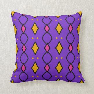 Coussin décoratif carré, coloré, violet à losanges