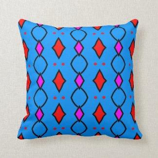 Coussin décoratif coloré, bleu brillant à losanges
