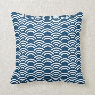 Coussin décoratif de motif blanc bleu de feston
