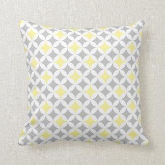 Coussin décoratif de motif gris jaune de cercles