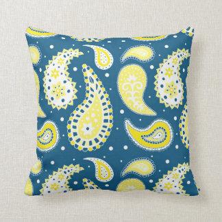 Coussin décoratif de motif jaune bleu de Paisley