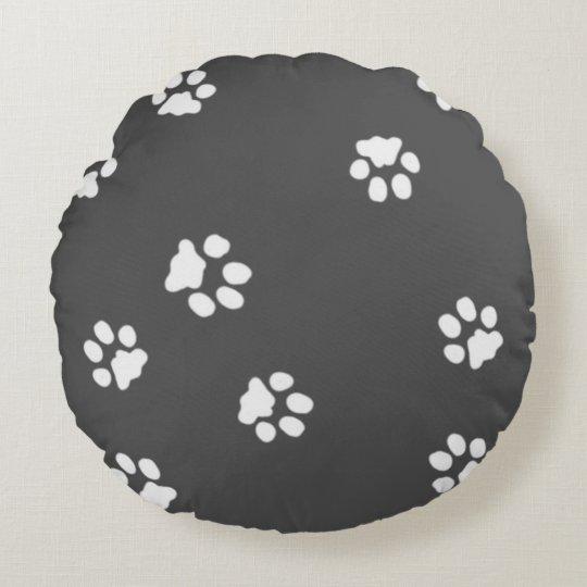 Coussin décoratif rond Pattes Blanche/Gris