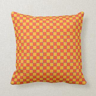 Coussin Dekokissen carreau dans oranges et jaune