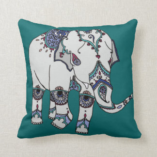 Coussin d'éléphant embelli par turquoise profonde
