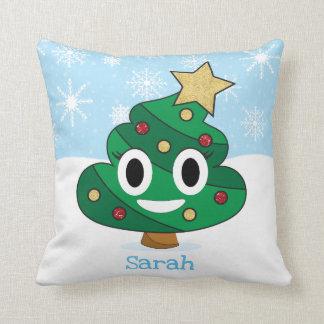 Coussin d'Emoji d'arbre de Noël d'Emoji de dunette