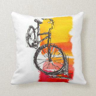 Coussin Dessin rouge coloré de vélo