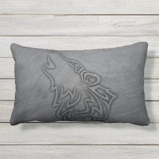 Coussin D'extérieur Acier de tribal de loup d'hurlement