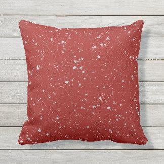 Coussin D'extérieur Étoiles de parties scintillantes - rouge argenté
