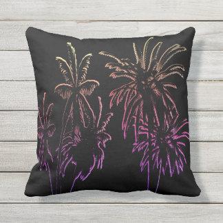 Coussin D'extérieur Palmiers floraux d'été tropical noir extérieurs