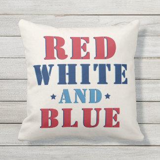Coussin D'extérieur Quatrième rouge blanc et du bleu | de juillet