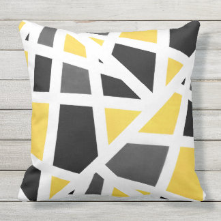 Coussin D'extérieur Résumé géométrique blanc noir gris jaune