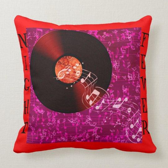 Coussin Disc Music notes rouge & bleu