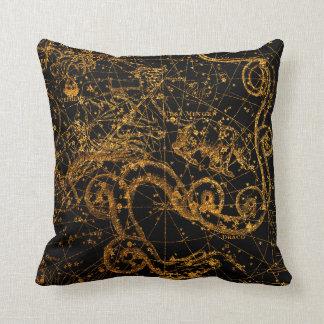 Coussin Dragon astrologique céleste de Draco d'or de carte