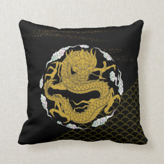 Coussin Dragon traditionnel d'or