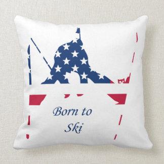 Coussin Drapeau des Etats-Unis d'Américain de ski de