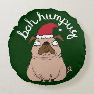 Coussin drôle de Noël de carlin de Bah Humpug Père