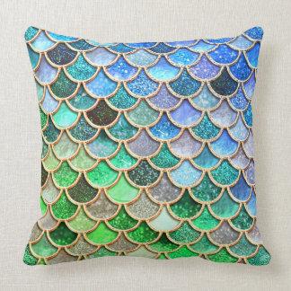 Coussin Échelles brillantes vert-bleu de sirène de parties