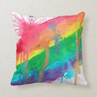 Coussin Éclaboussure de peinture d'arc-en-ciel