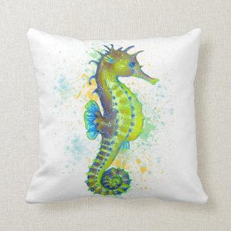 Coussin Éclaboussure d'hippocampe de vert jaune