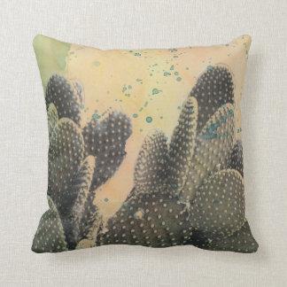 Coussin Éclaboussure verte du cactus | de désert