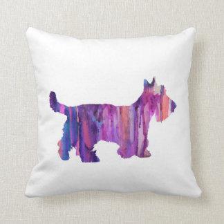 Coussin Écossais Terrier, écossais Terrier d'aquarelle