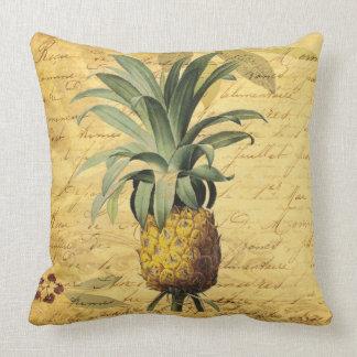 Coussin Élégant rustique d'ananas français de calligraphie