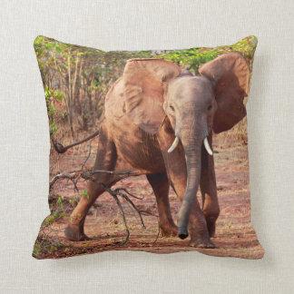 Coussin Éléphant dans la pose d'avertissement