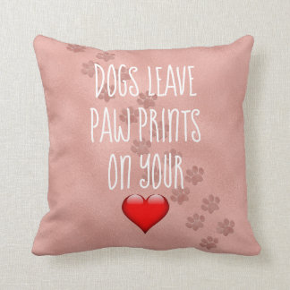 Coussin Empreintes de pattes de congé de chiens sur votre