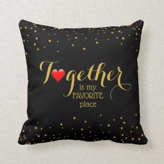 Coussin Ensemble citation d'amour pour le noir d'or de