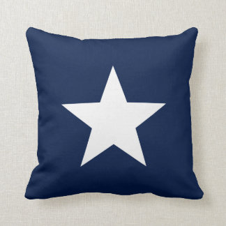 Coussin Étoile blanche sur le carreau de bleu marine