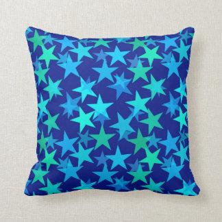 Coussin Étoiles, bleu de cobalt et turquoise géométriques