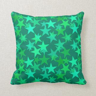Coussin Étoiles géométriques modernes, émeraude et vert en