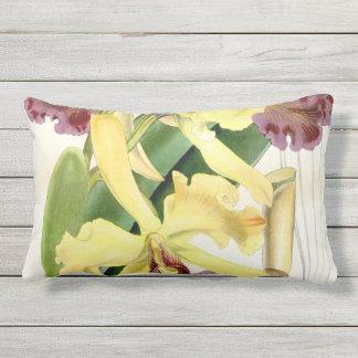 Coussin extérieur lombaire d'orchidée mauve jaune