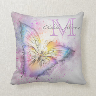 Coussin Fille colorée d'aquarelle de papillon de