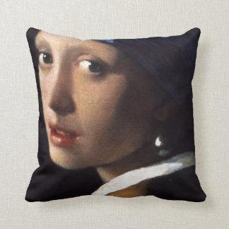 Coussin Fille de Johannes Vermeer avec une boucle