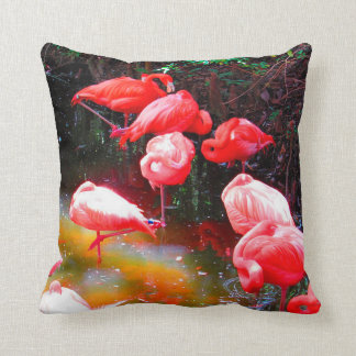 Coussin FLAMANTS ROSES LUMINEUX, copie stylisée de photo